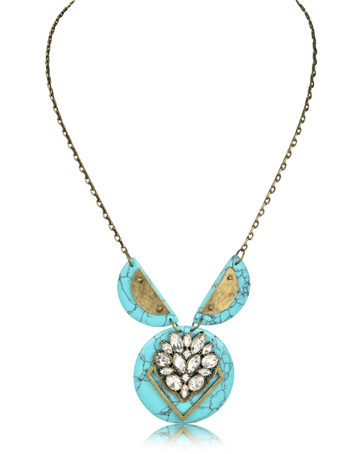 Embellished Stone Pendant Necklace