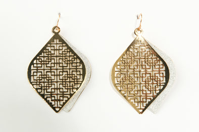 Marquise Filigree Overlay Glitter Dangle