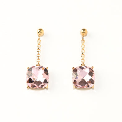 Linear Square Glass Stone Drop Earrings
