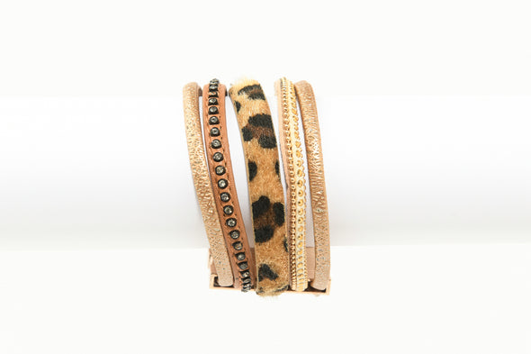 Leopard and Metallic Magnetic Bracelet