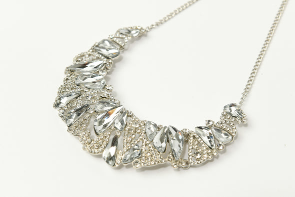 Mixed Stones Statement Occasion Collar Necklace