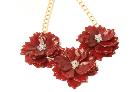 Triple Resin Flower Necklace