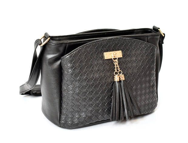 Quilted Front Tassel Top Dome Crossbody