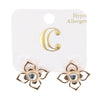 Open Flower Rhinestone Post Stud Earrings - Rose Gold - Charming Charlie