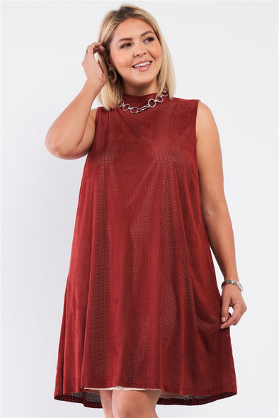 Junior Plus Rust And Nude Illusion High Neck Swing Dress