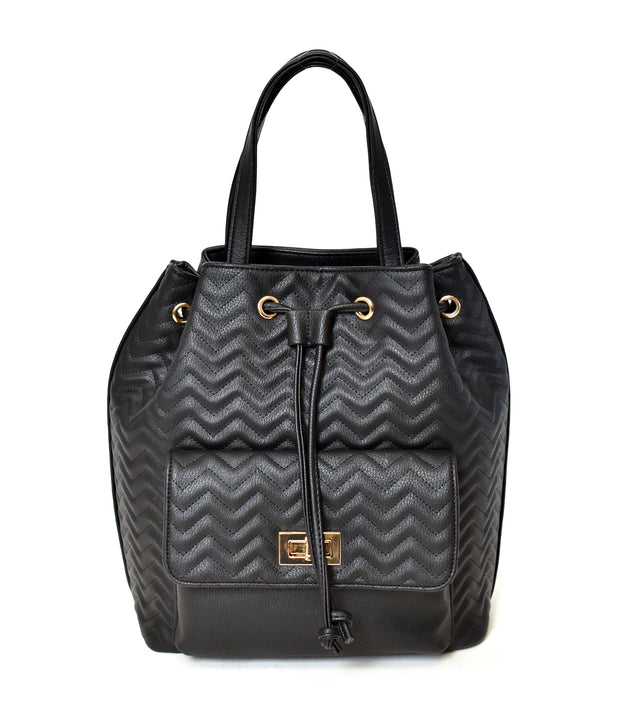 Chevron Quilted Drawstring Bag - Charming Charlie