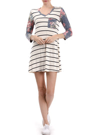 3/4 Sleeve V-Neck Stripe Floral Colorblock Dress, Multi Floral
