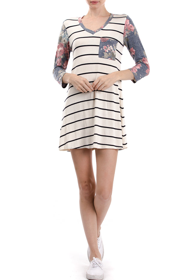 3/4 Sleeve V-Neck Stripe Floral Colorblock Dress, Multi Floral - Charming Charlie
