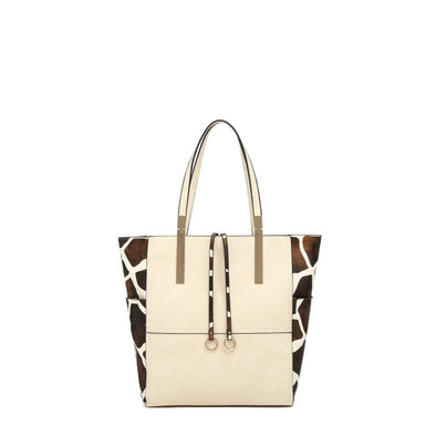 N/S Tote With Girafe Print With Zip Closure