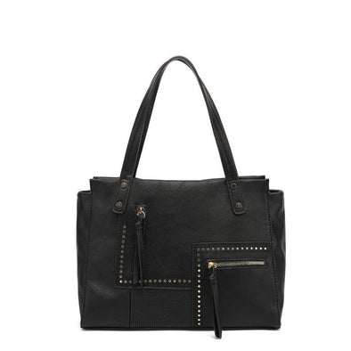 Textured East/West Double Handle Satchel