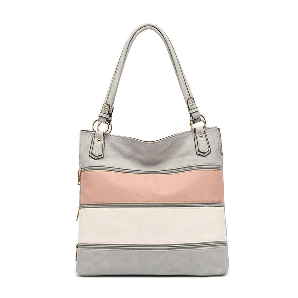 Double Handle Colorblock Hobo