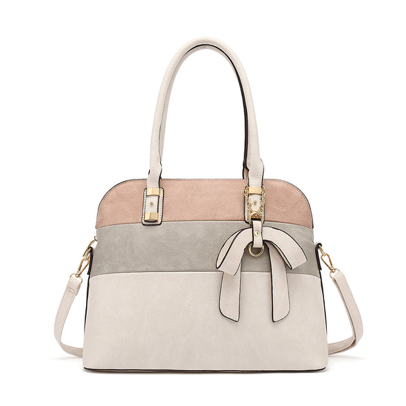 Colorblock Dome Satchel With Bow Charm