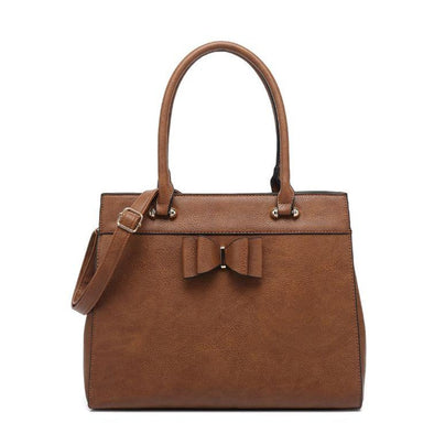 Satchel With Bow Detail Detachable Shoulder Strap