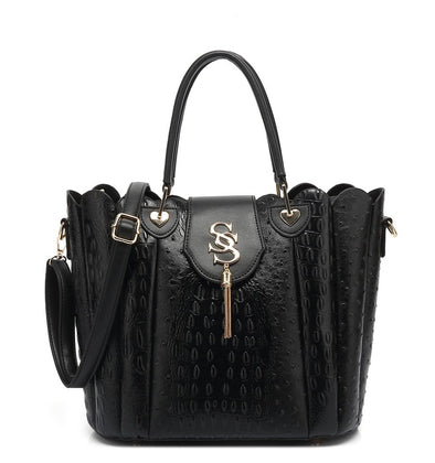 Double Handle Ostrich Satchel  Bag