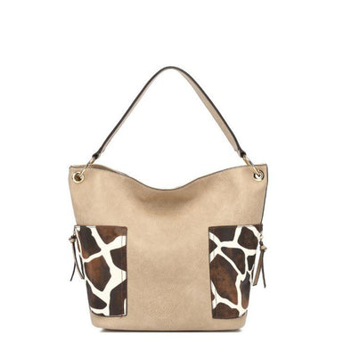 Giraffe Print Shoulder Hobo Bag