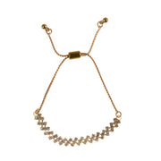 "9"" String Chain Slider and Rhinestone Bracelet - Gold"