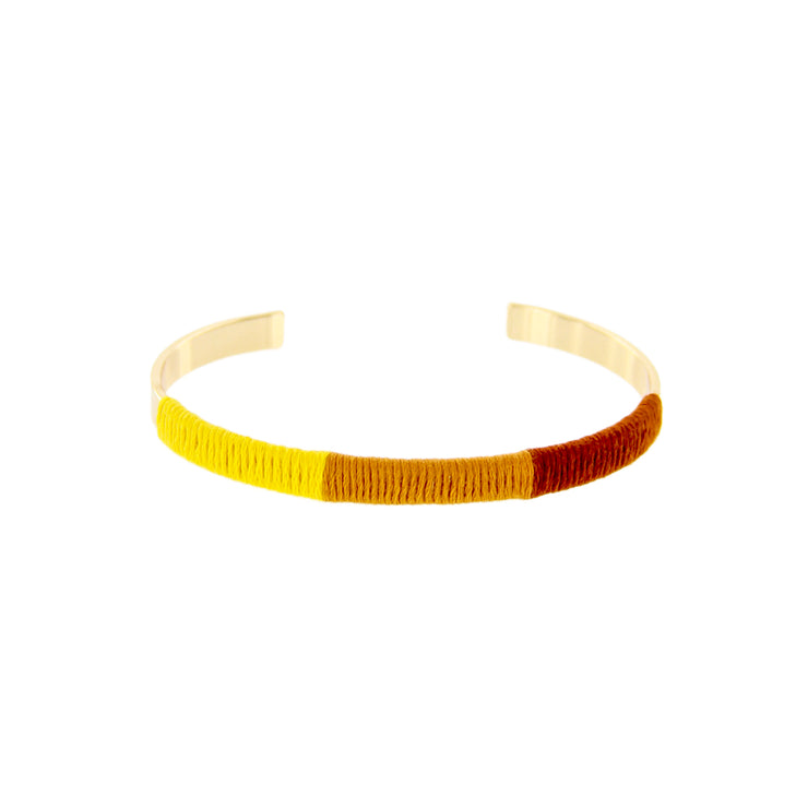 Fabric Wrapped Metal Cuff Bracelet - Adjustable, Yellow