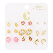 Rhinestone Heart & Shapes Earrings - 9 Pairs, Pink/Gold - Charming Charlie