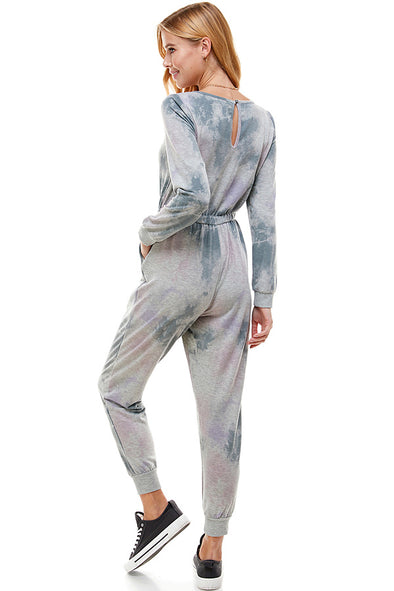 Tie Dye Lounge  Jumpsuit With Tie Waist