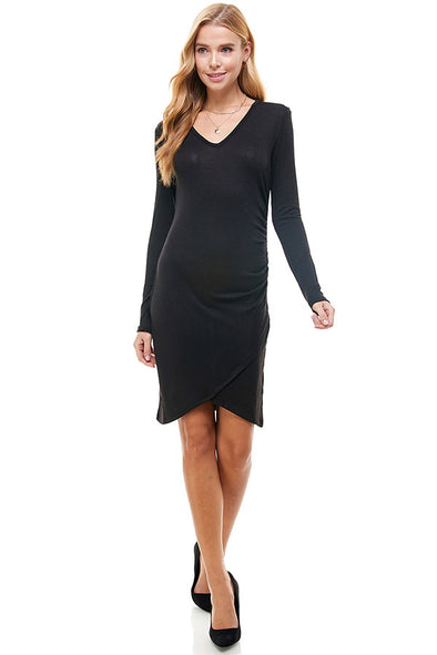 Knit Side Ruched Long Sleeve Dress