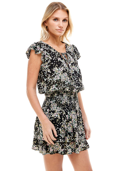 Printed Tiered  Tie Neck Dress