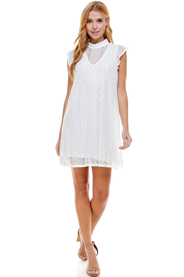 Allover Lace Dress With Ruffle Sleeve