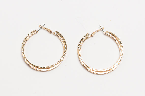 ANNE KLEIN DS GOLD DOUBLE LOOP 50MM ETCHED HOOP