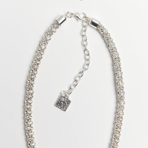 ANNE KLEIN DS SILVER 16IN MESH PAVE COLLAR