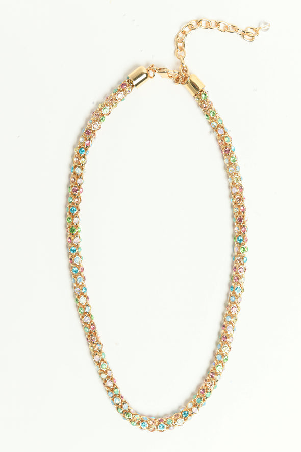 ANNE KLEIN DS MULTI OPAL GOLD 16IN MESH PAVE COLLAR