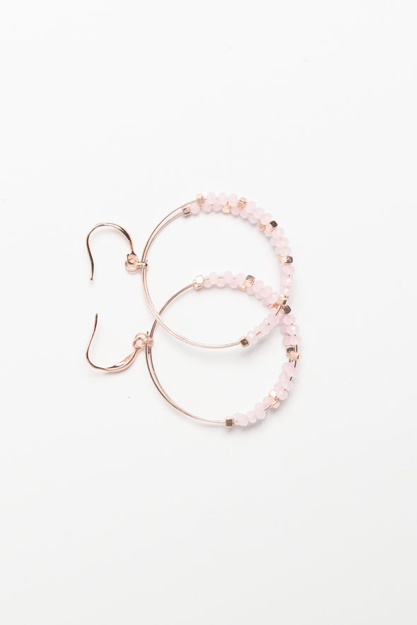 ANNE KLEIN DS ROSE BEADED DOUBLE DROP HOOP