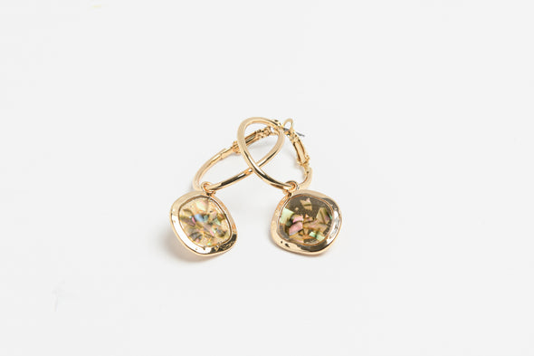 ANNE KLEIN DS GOLD FAUX ABALONE DROP EARRINGS