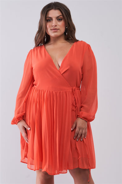 Junior Plus Coral Wrap Deep V-Neck Long Puff Sleeve With Elasticated Cuff Pleated Mini Dress