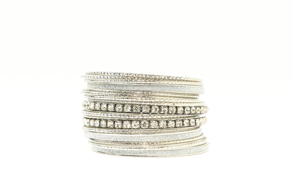 Set of 17 Metal and Glitter Large Bangle Bracelets