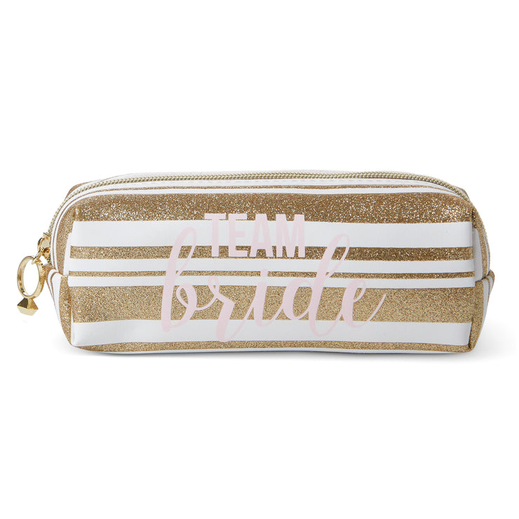 Bridal Shower Cosmetic Loaf Case - Makeup Organizer, White/Gold