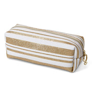 Bridal Shower Cosmetic Loaf Case - Makeup Organizer, White/Gold - Charming Charlie