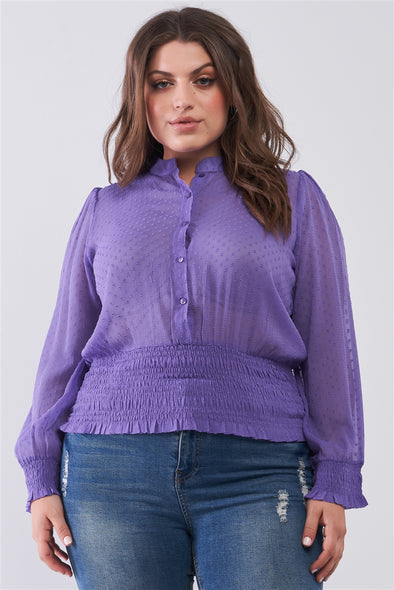 Junior Plus Size Violet Mesh Polka Dot Balloon Sleeve Button-Down Smock Detail Blouse Top