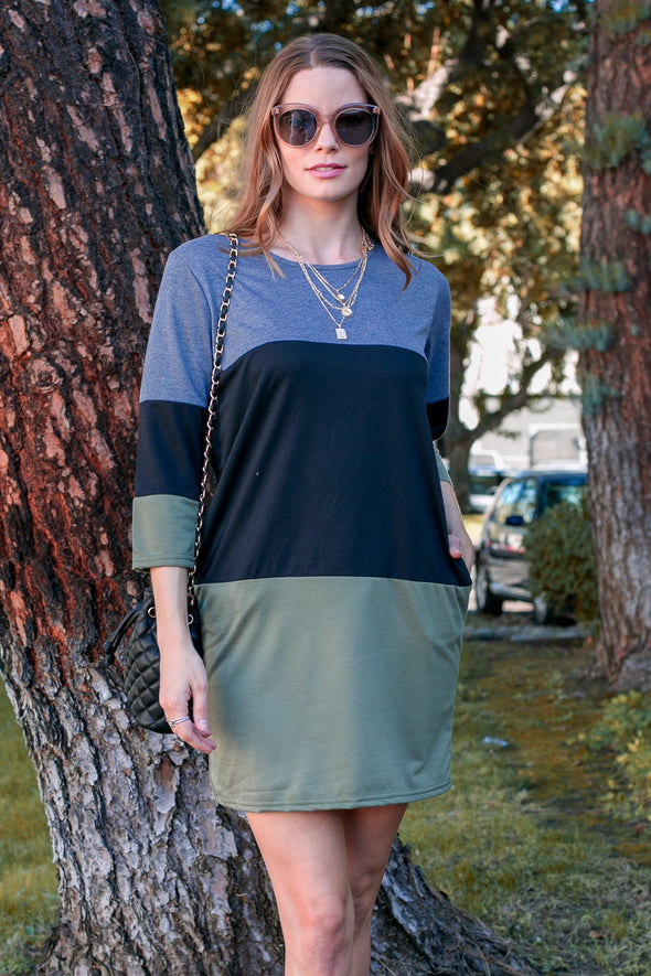 3/4 Sleeve Color Block Dress