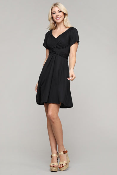 Short Sleeve V-Neck  Waist Ribbon Tie Dress