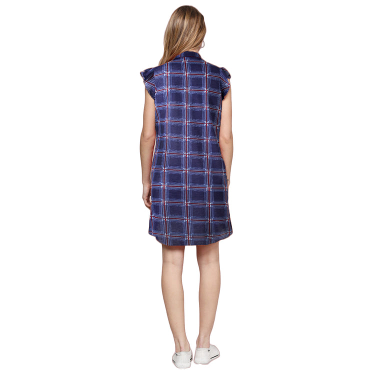 Button Front Plaid Shirt Dress