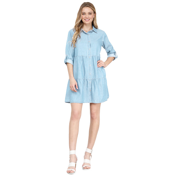 Tiered Chambray Collar Dress