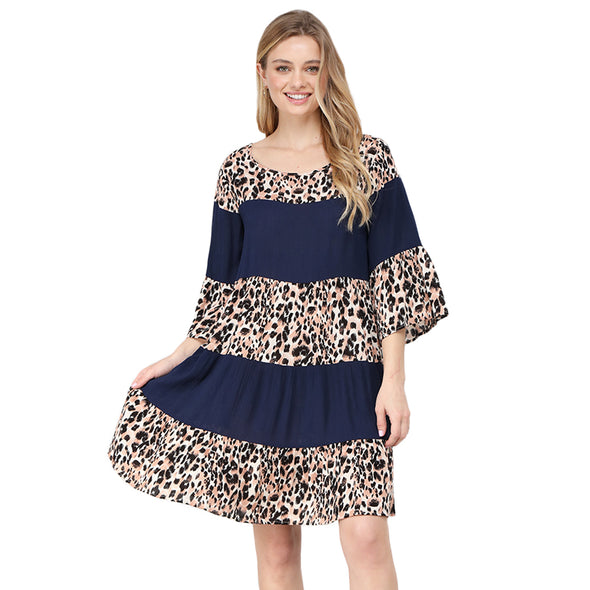 Cheetah Print Tiered Aline Mini Dress