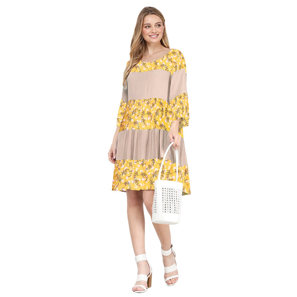 Multi Print Tiered Aline Mini Dress