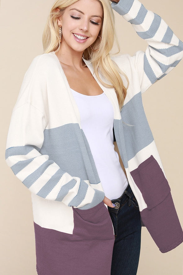 Long Sleeve Color Block Sweater Cardigan