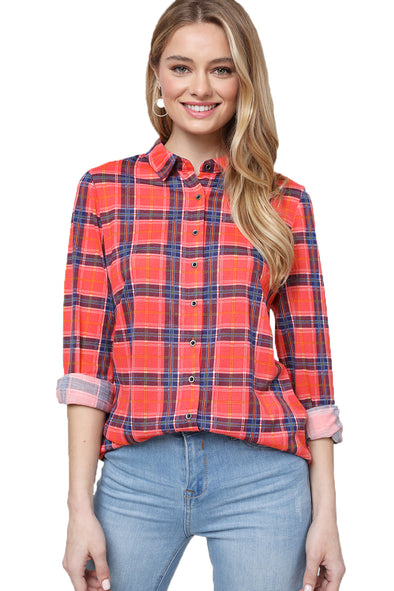 Gingham  Long Sleeve Woven Shirt