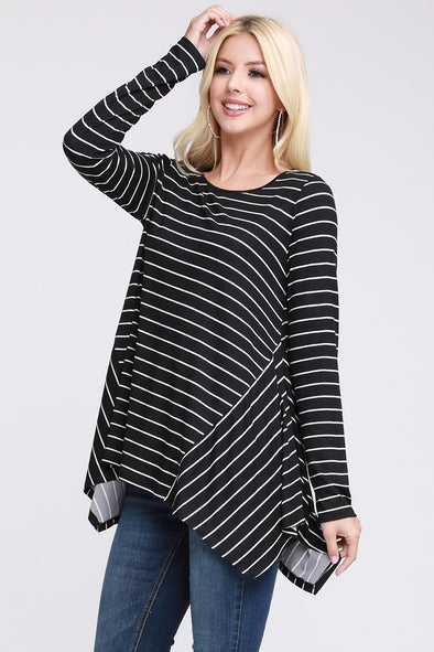 Handkerchief Hem Long Sleeve Top