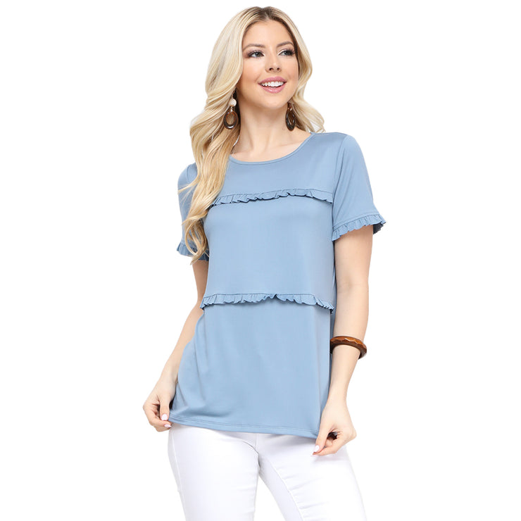 Tiered Ruffle Cap Sleeve Blouse