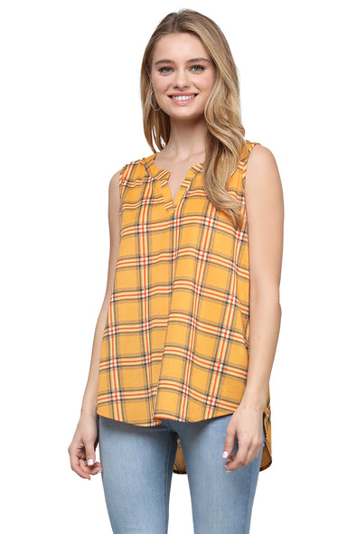 Sleeveless Plaid Woven Shirt