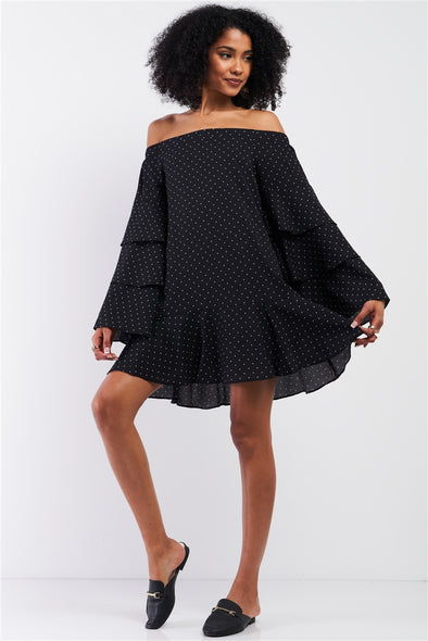 Black Polka Dot Off-The-Shoulder Relaxed Fit Layered Trumpet Sleeve Flare Mini Dress