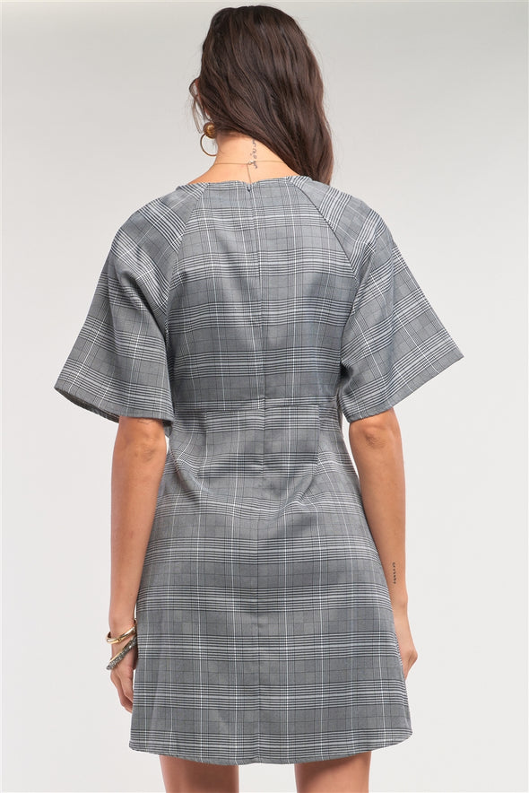 Grey Checkered Print Asymmetrical Front Self-Tie Detail Mini Dress