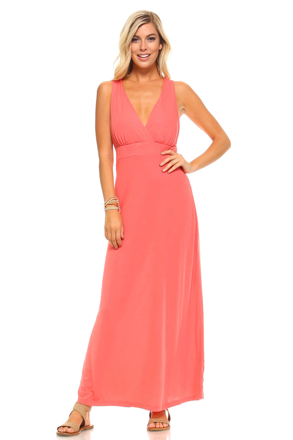 Women's Halter Maxi Dress with Cross Back Straps